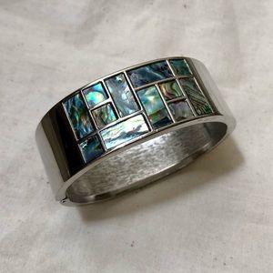 Jewelry - Abalone Shell Inlay Square Hinged Bracelet Bangle